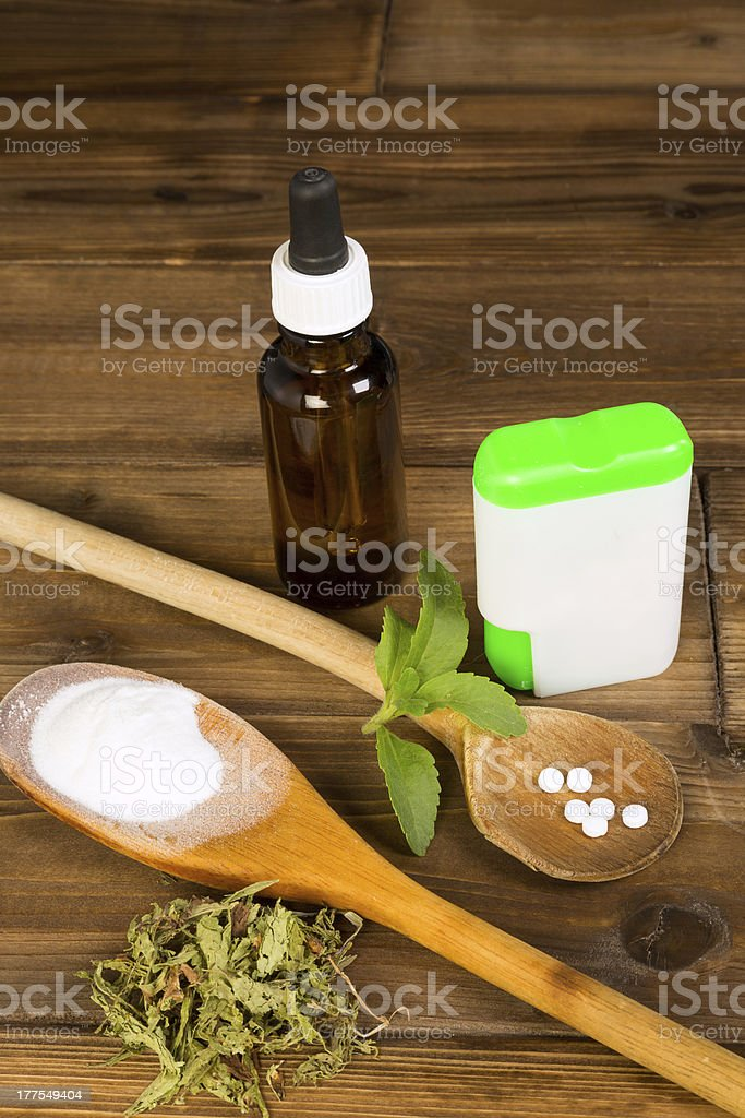 Zero-carb sweetener stevia stock photo