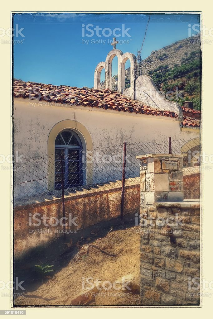 Zeytinlikoy Church in Gokceada island stock photo