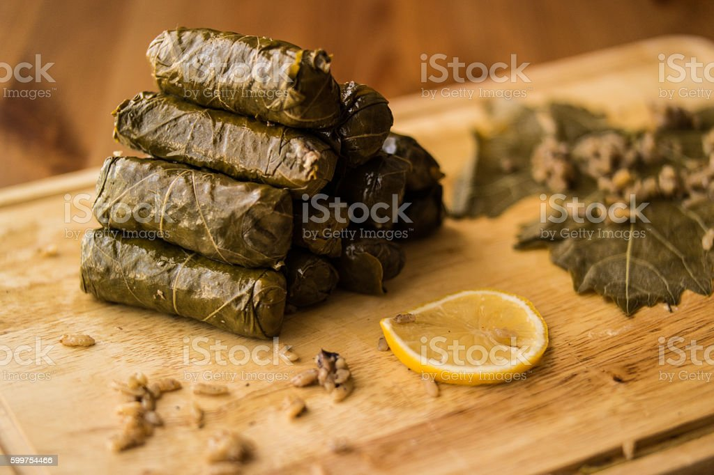 Zeytinyagli  Yaprak Sarma / Stuffed Graped leaves with olive oil stock photo