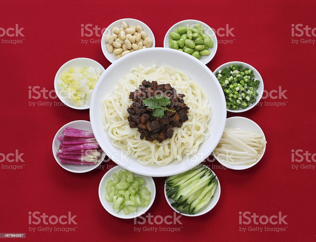 zha jiang mian(Beijing style), chinese noodle cuisine stock photo