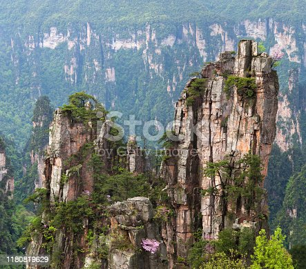 Panoramic view of famous floating mountains in spring time in Zhangjiajie National Forest Park in Wulingyuan Scenic Area, Hunan Province of China