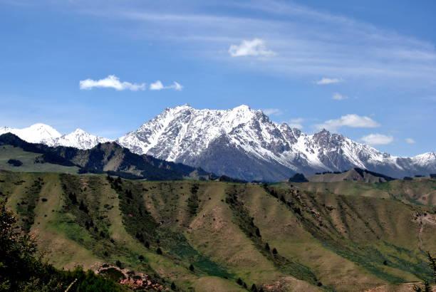Zhangye and Qilian Mountains, Gansu Province, China stock photo