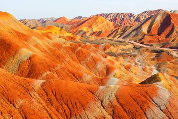 Zhangye Danxia Geological park scenery stock photo