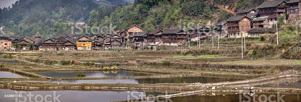 Zhaoxing Dong village of ethnic minority in southwest China. stock photo
