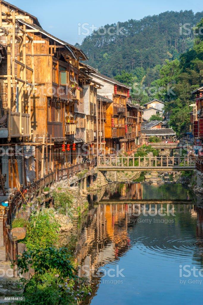 Zhaoxing Dong Village, urban scene Bridge China stock photo