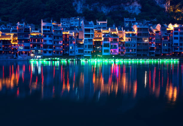 Zhenyuan ancient Town on Wuyang river in Guizhou Province, China stock photo