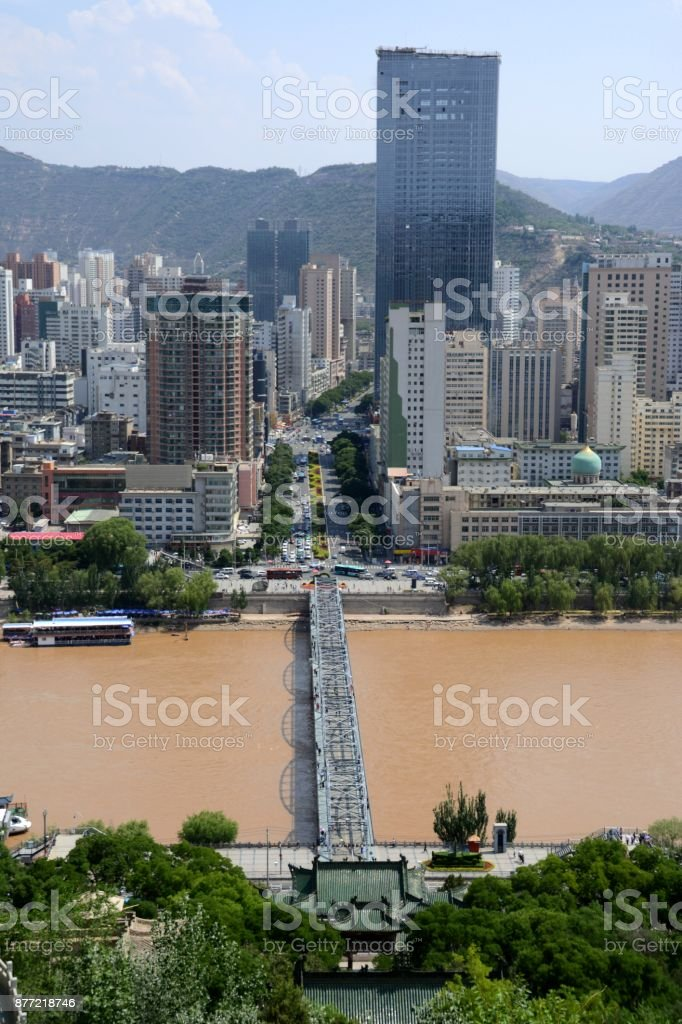 Zhongshan Bridge in Lanzhou, Gansu province, China stock photo