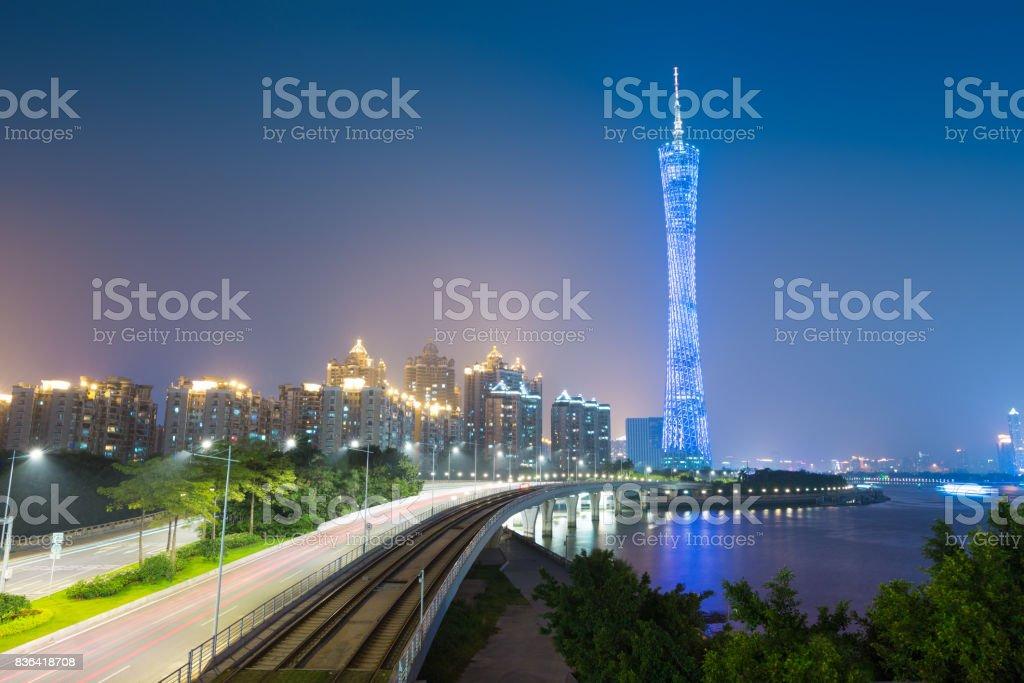 Zhujiang River and modern building of financial district in guangzhou china. stock photo