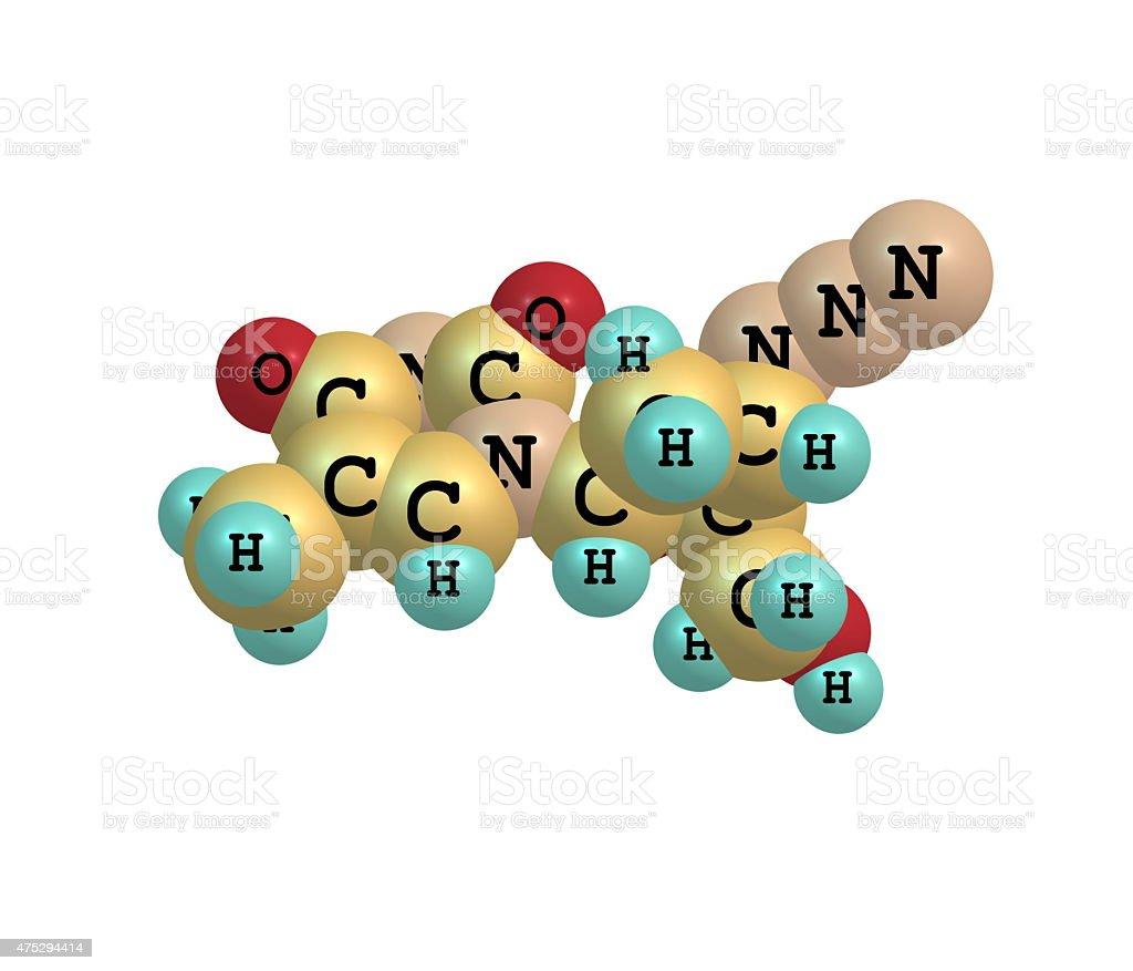 Zidovudine molecule isolated on white stock photo