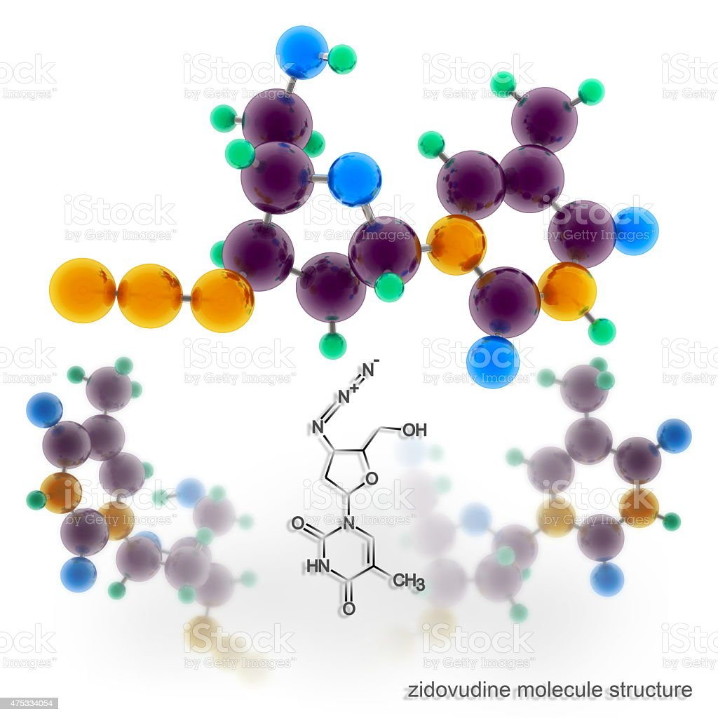 Zidovudine (Azidothymidine, Retrovir) molecule structure stock photo