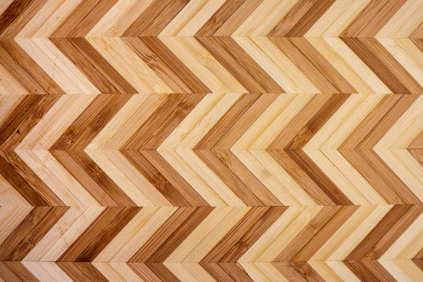 Zig Zag Designed Artisan Wood Background stock photo