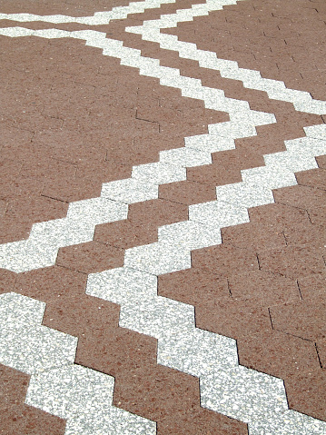 Zig Zag Pattern Pavers Stock Photo - Download Image Now - iStock