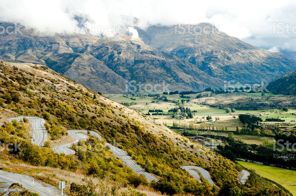 Zig Zag Road - New Zealand stock photo