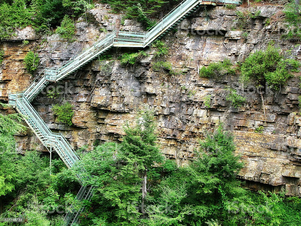 Zig Zag Staircase Down Rock Face at Ausable Chasm, NY stock photo