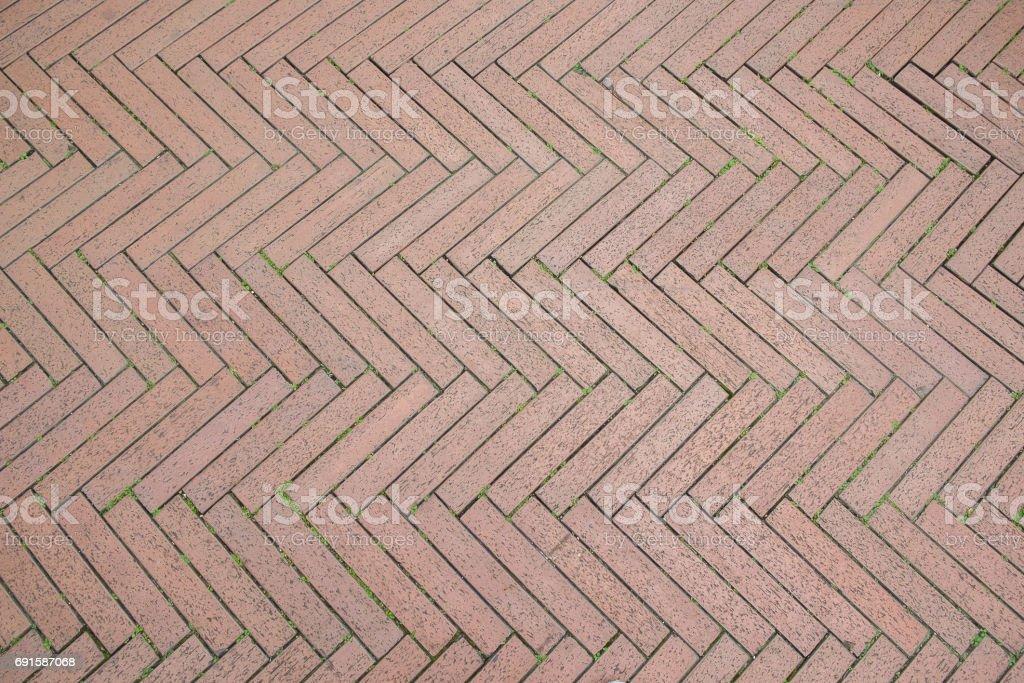 zigzag bricks walkway pattern background stock photo