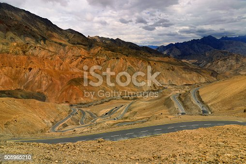 912120622 istock photo Zigzag road, Leh Srinagar Highway, Ladakh, Jammu and Kashmir, India 505965210