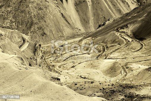912120622 istock photo Zigzag road, Leh Srinagar Highway, Ladakh, Jammu and Kashmir, India 607738788