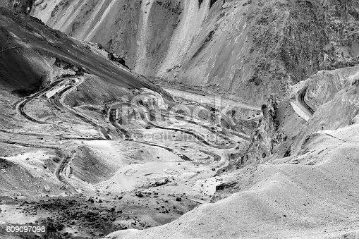 912120622 istock photo Zigzag road, Leh Srinagar Highway, Ladakh, Jammu and Kashmir, India 609097098