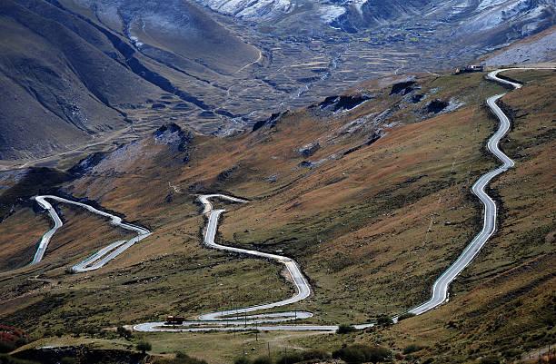 Zigzag Road stock photo