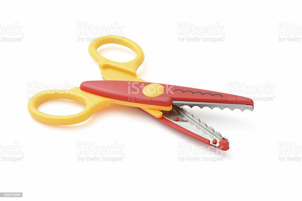 Zigzag scissors stock photo