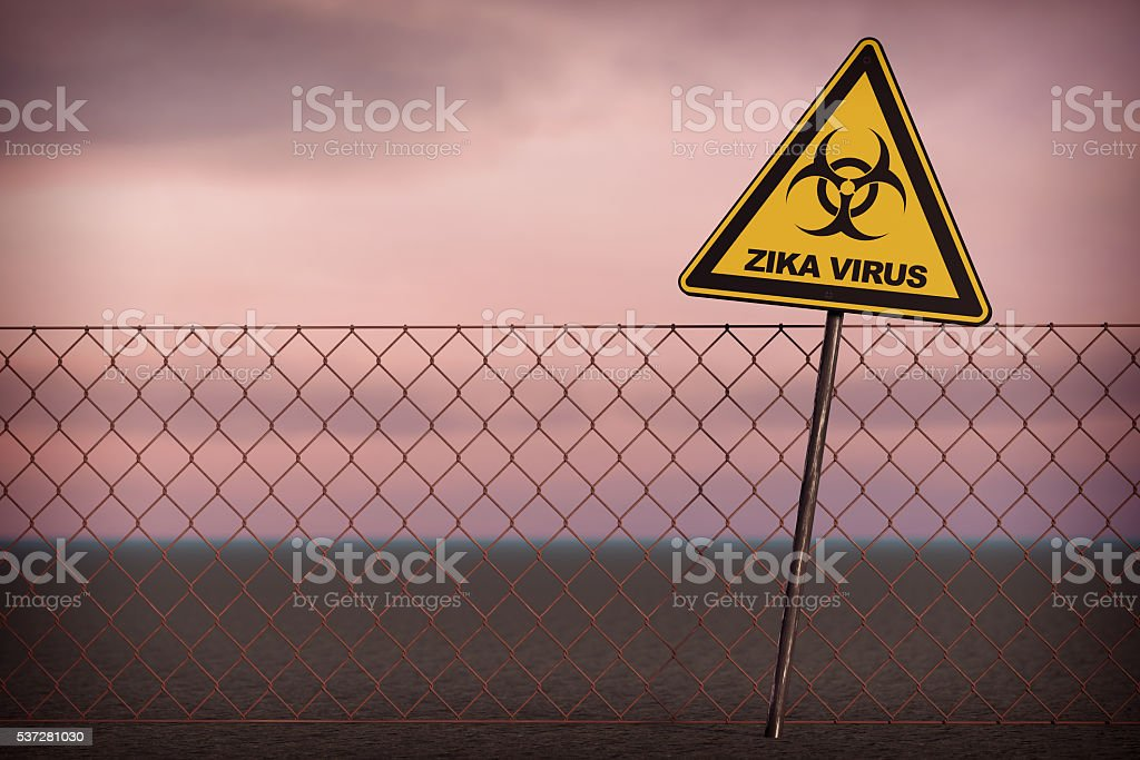 Zika Virus Warning Sign. 3d Rendering stock photo