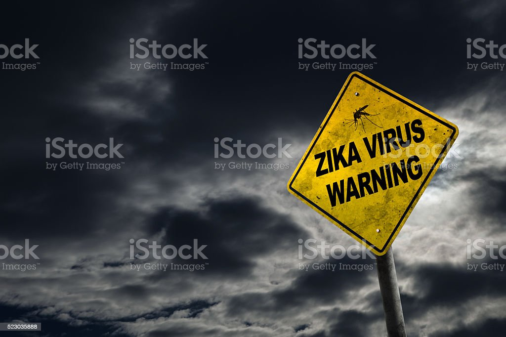 Zika Virus Warning Sign With Copy Space stock photo