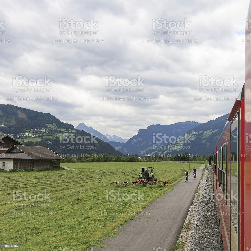 Zillertal train ride near Zell am Ziller royalty-free stock photo