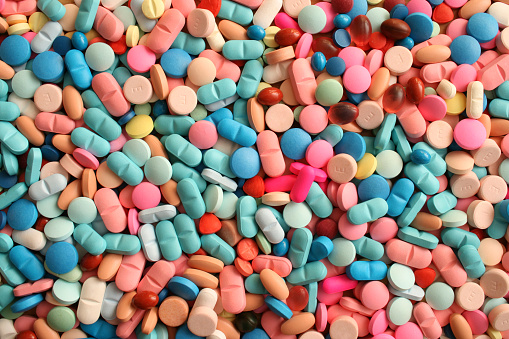 Top view of large amount of pills