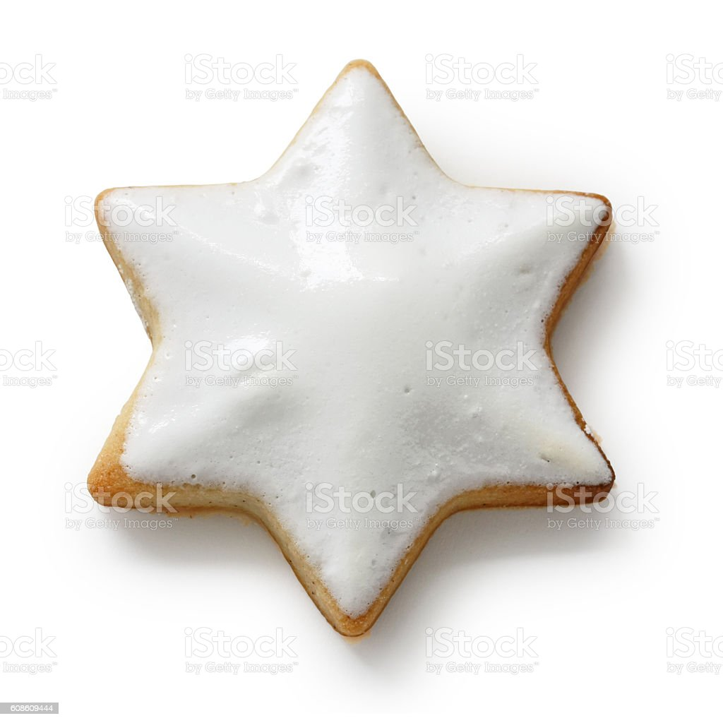 Zimtstern , homemade christmas cookie isolated on white background stock photo