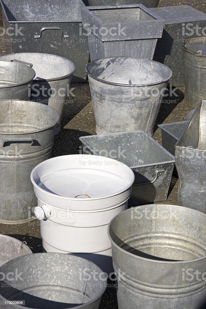 Zinc buckets XL royalty-free stock photo