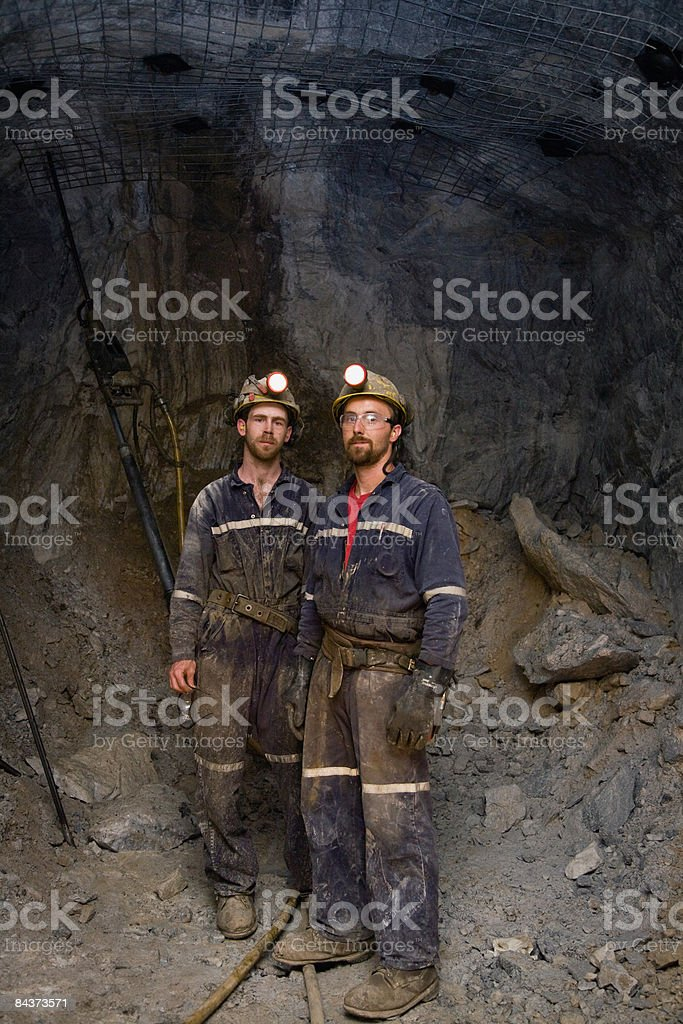 zinc miners in cavern, portrait royalty-free stock photo