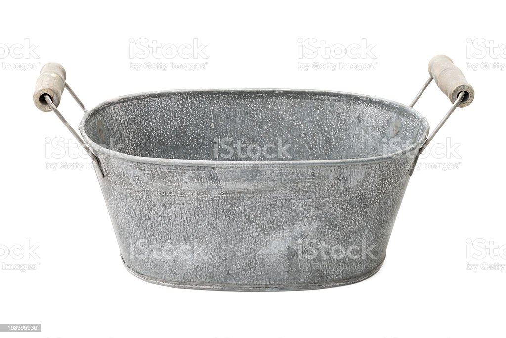 Zinc-coated washbowl stock photo