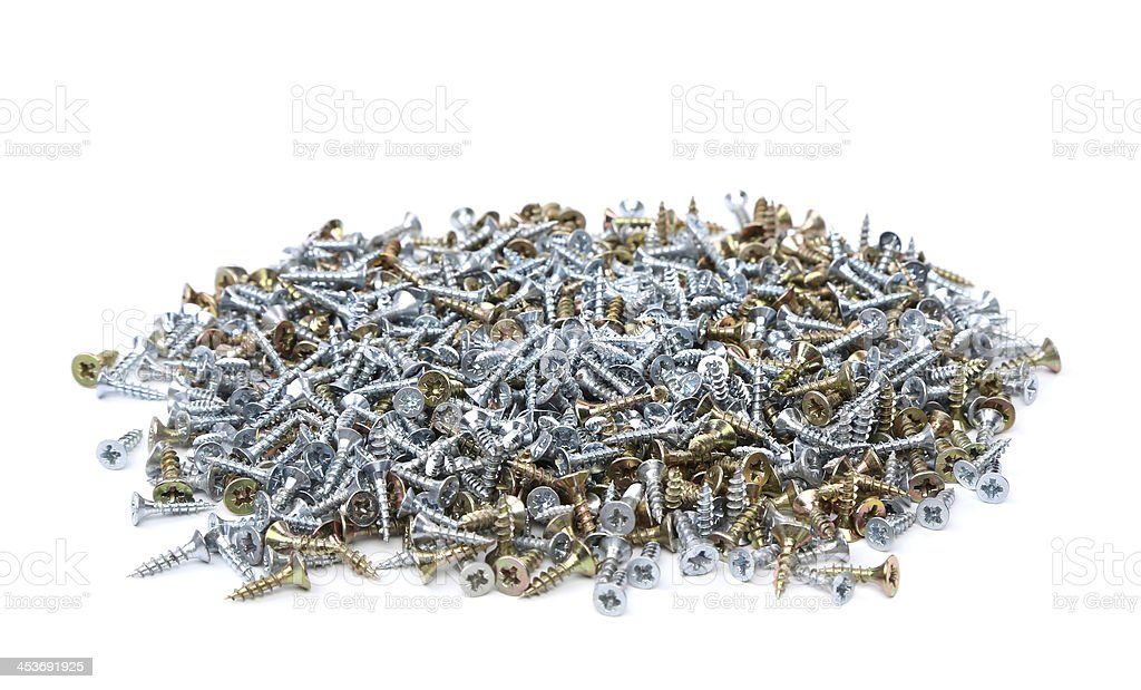 Zinked and anodized screws royalty-free stock photo