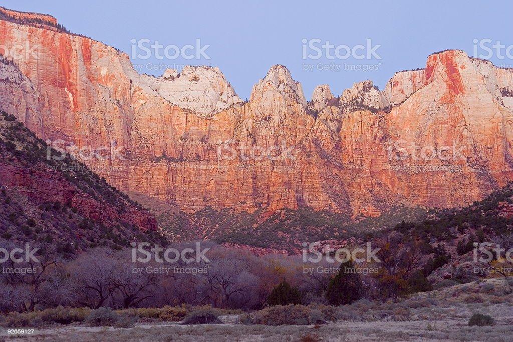 Zion Canyon at sunrise stock photo