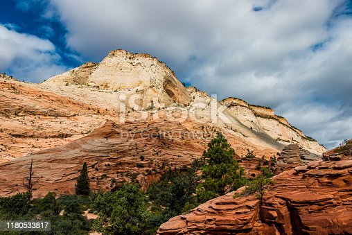 The white and orange mountains in Zion National Park, Utah.