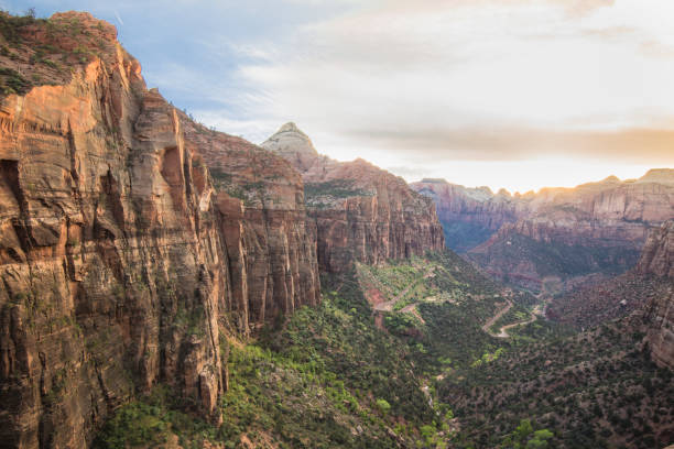 zion canyon national park, utah, overlook at sunset - katiedobies stock pictures, royalty-free photos & images