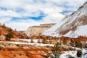 Snow crowns the heights in Zion National Park near Kanab, Utah in winter.
