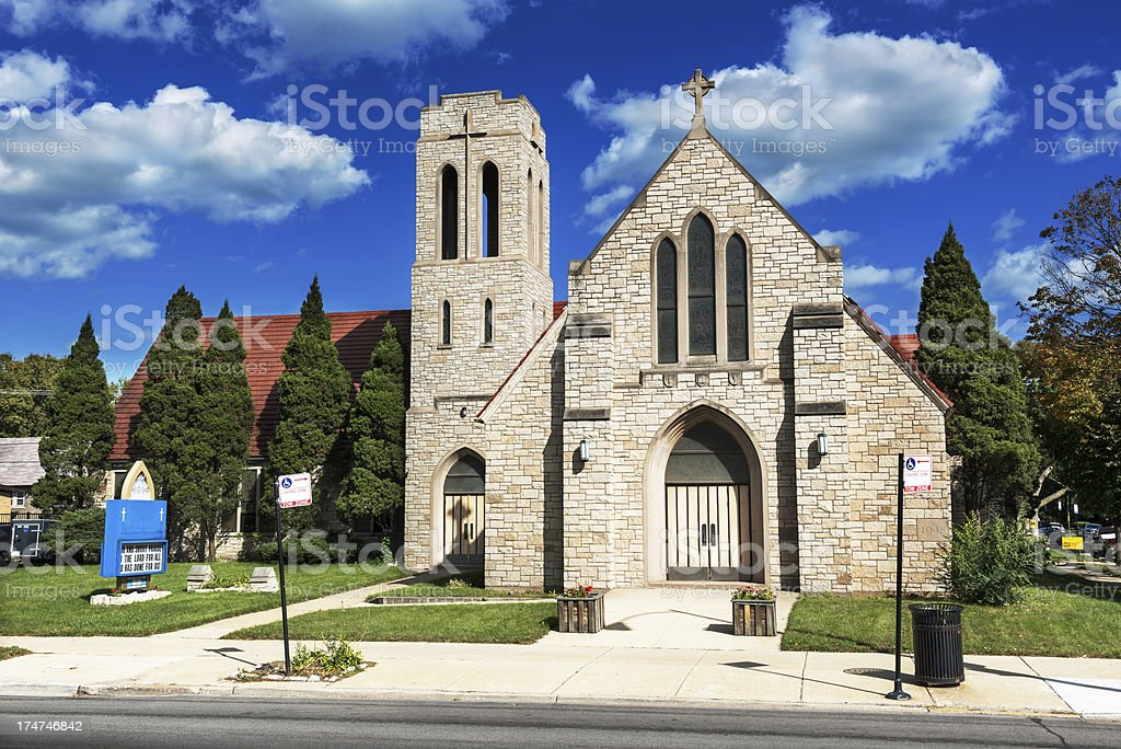 Zion Lutheran Church in Avalon Park, Chicago stock photo