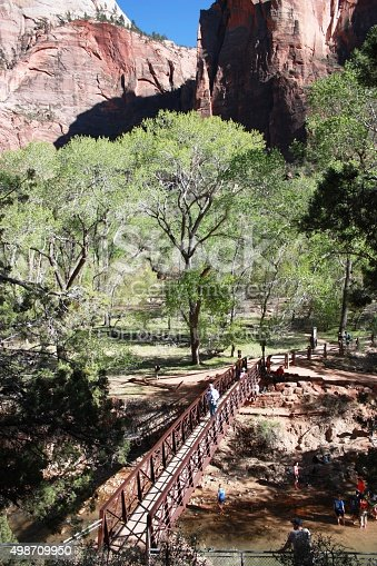A road scene from Zion National Park showing some really extreme terrain on the craggy mountain range