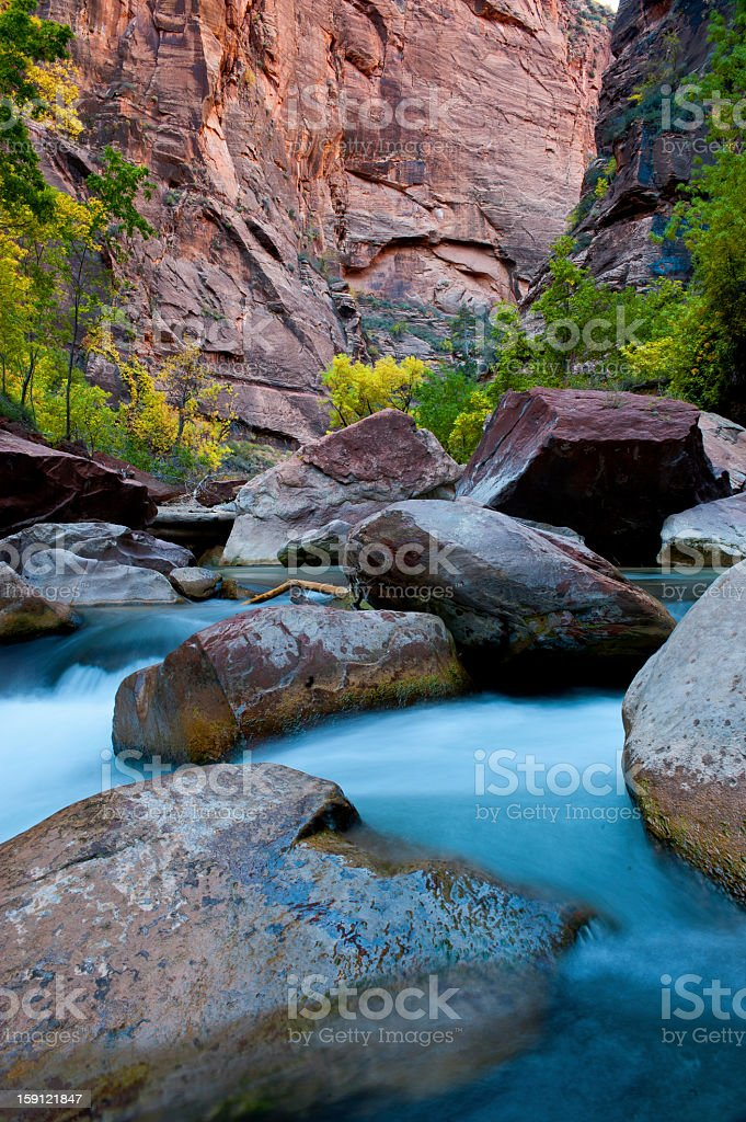 Zion National Park and the Virgin River stock photo