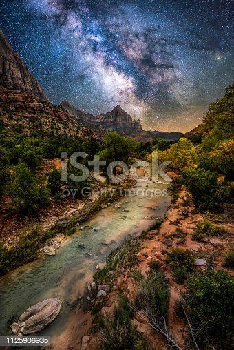 Milky way over Virgin River at Zion National Park. Utah. USA