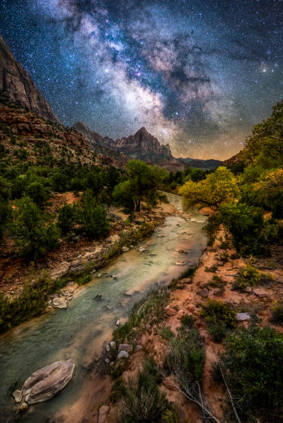 Zion National Park at night Milky way over Virgin River at Zion National Park. Utah. USA zion national park stock pictures, royalty-free photos & images