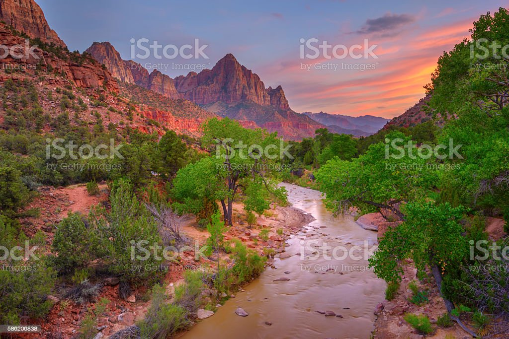 Zion National Park at sunset stock photo