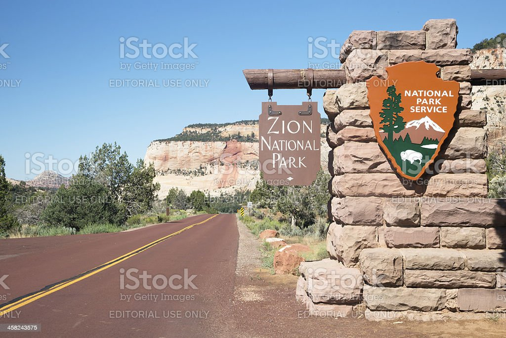Zion National Park entrance stock photo