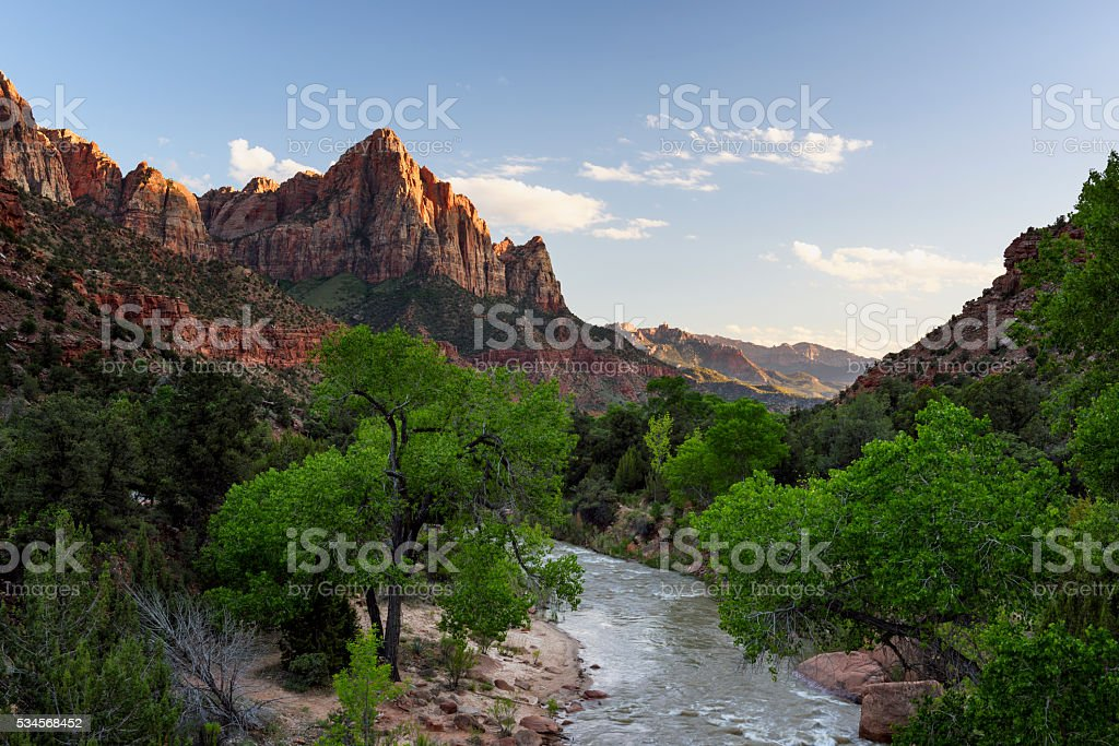 Zion National Park in Spring - The Watchman stock photo