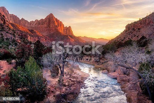 Zion national park late autumn landscape view with Watchman peak, Utah, USA