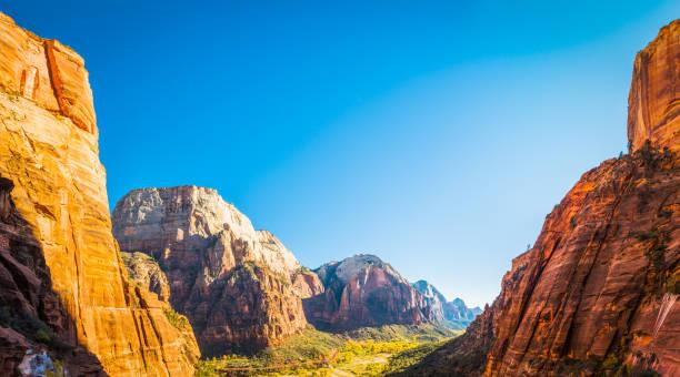 Zion National Park panoramic vista between canyon wall peaks Utah stock photo