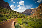 The red road leading into Zion National Park near Springdale, Utah.