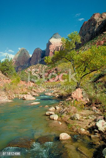 Canyon walls and rough terrain in summer along Pine Creek in Zion National Park Utah
