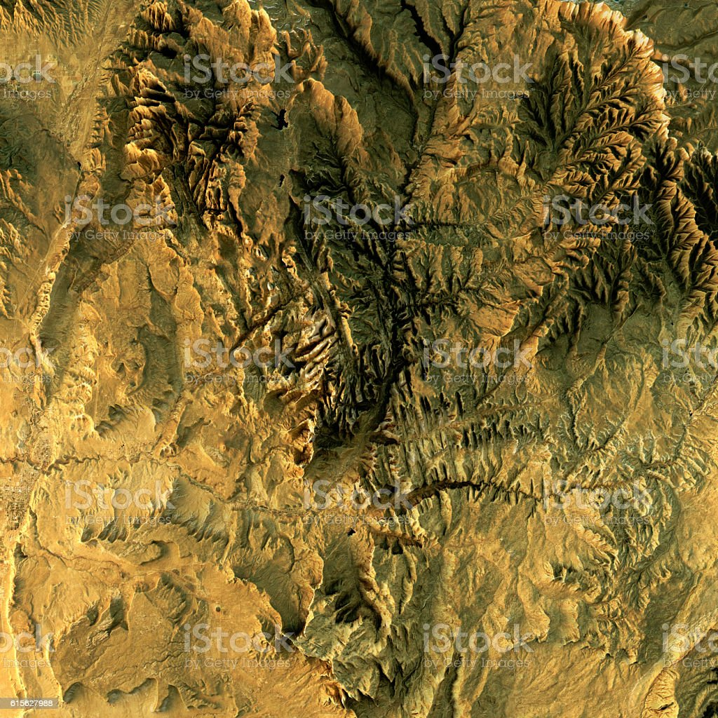 Zion National Park Topographic Map Natural Color Top View – Foto